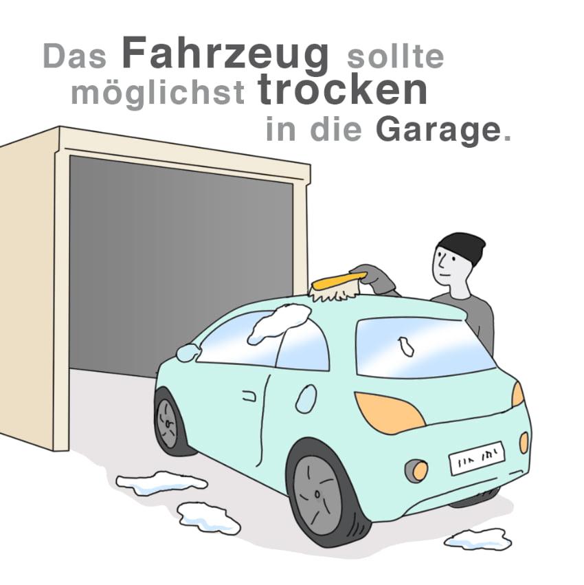 Das Fahrzeug sollte möglichst trocken in die Garage