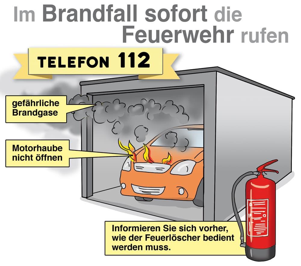 Garage: Im Brandfall sofort die Feuerwehr rufen