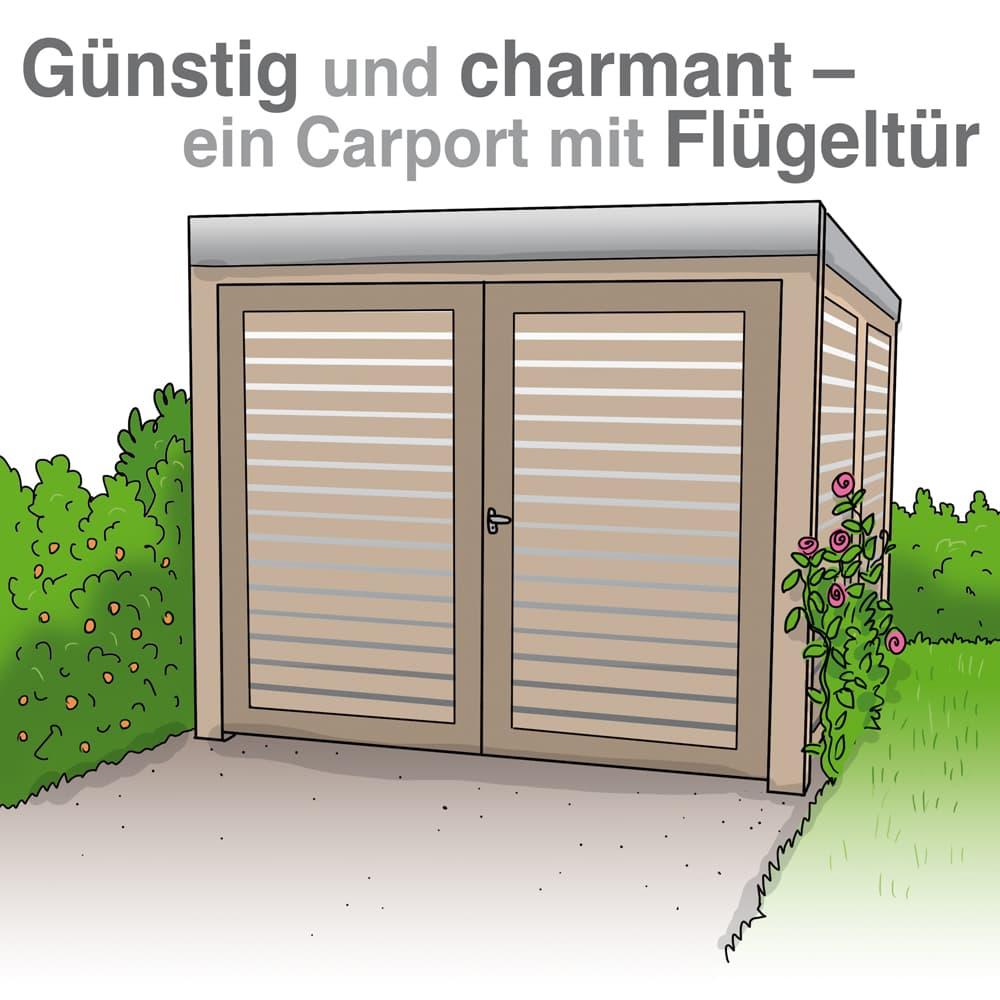 Carport mit Flügeltür