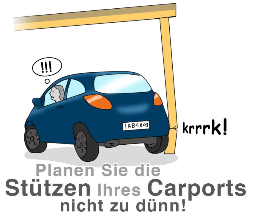 Der Carport sollte stabil geplant werden, das gilt insbesondere für die Stützen