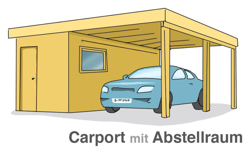 Praktisch: Carport mit Anstellraum