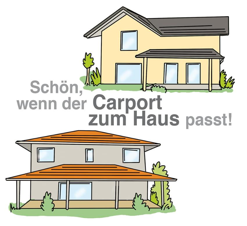 Carport kann passend zur Hausfassade oder Dach gestaltet werden