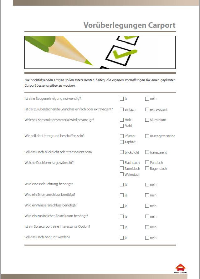 Carport Vorüberlegungen Checkliste