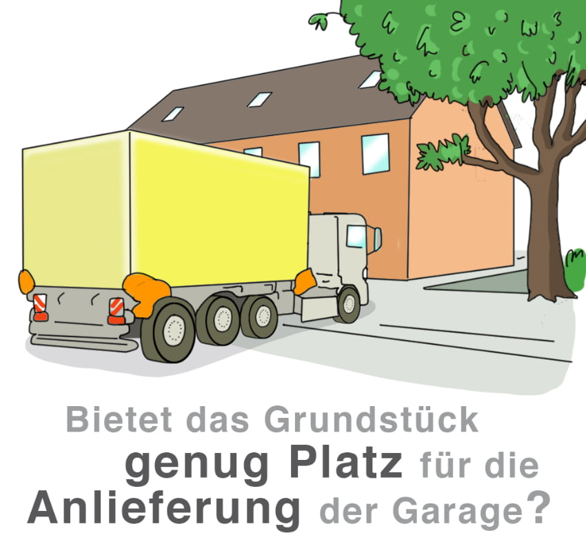 Vorab klären: Bietet das Grundstück genug Platz für die Anlieferung der Garage
