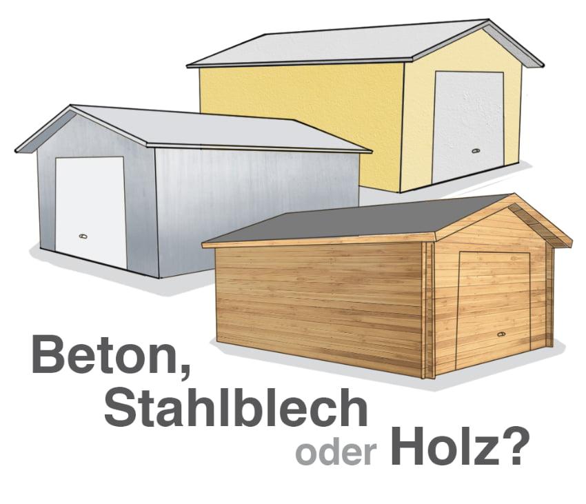 Garage Material: Beton, Stahlblech oder Holz?
