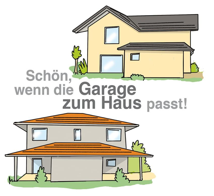 Garage kann passend zur Hausfassade oder Dach gestaltet werden