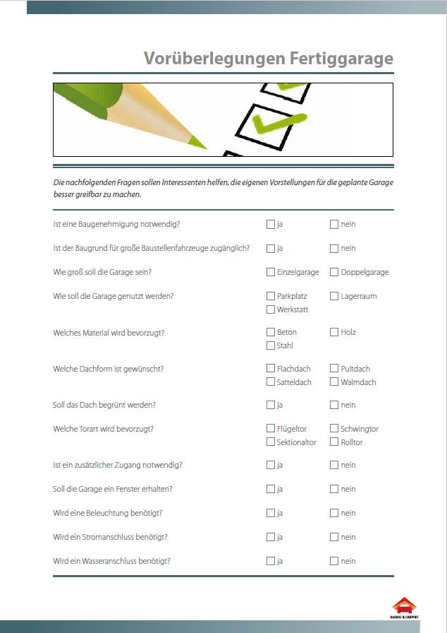 Garage Vorüberlegungen Checkliste