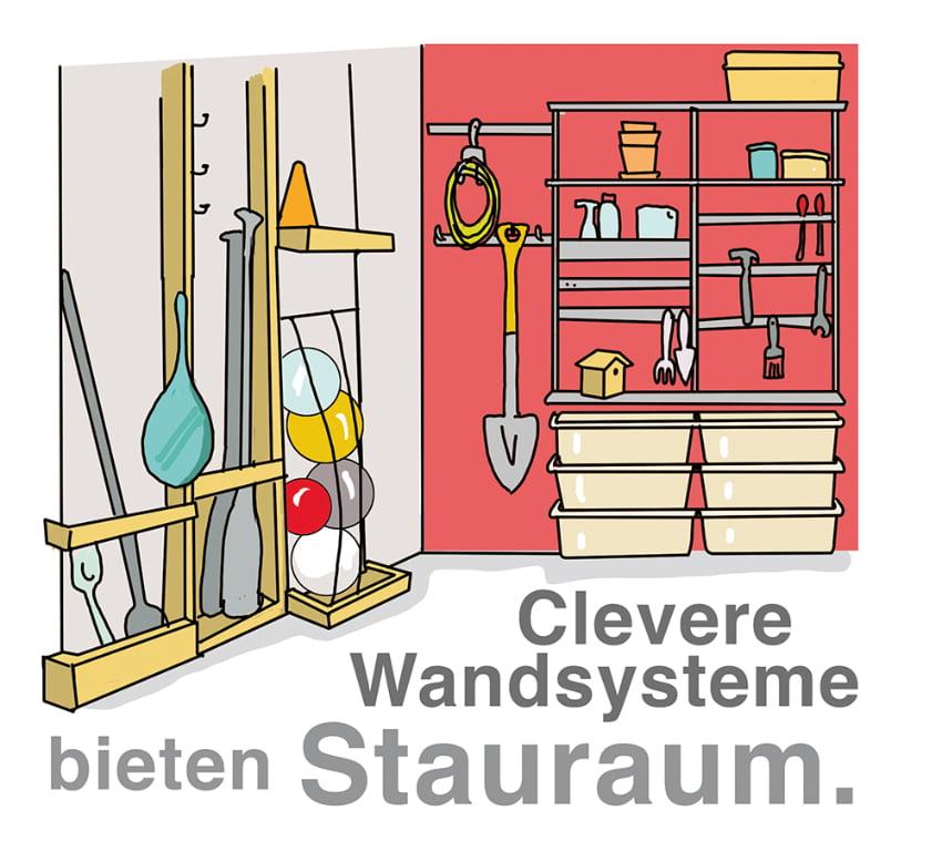 Clevere Wandysteme bieten Stauraum