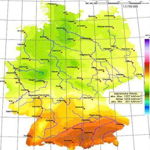 Sonneneinstrahlung in Deutschland © Deutscher Wetterdienst